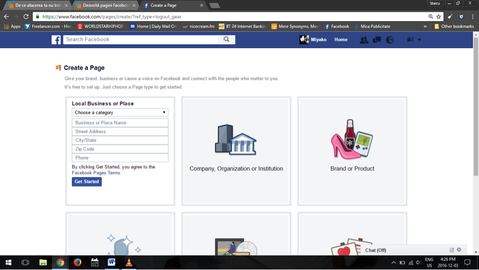setting up a facebook business page - step 1