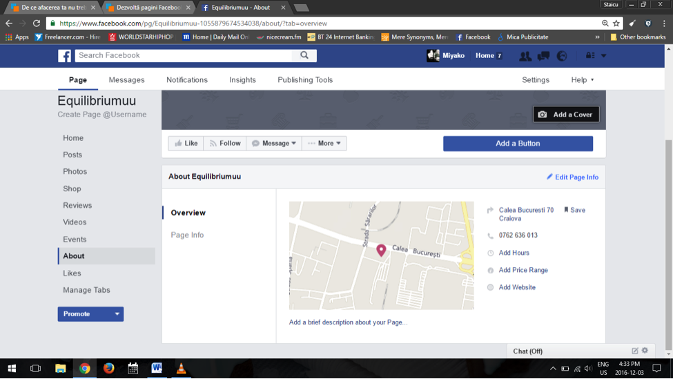your about page on facebook - setting up a facebook page