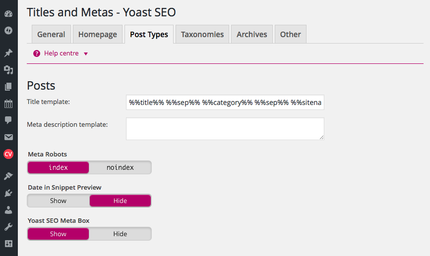 Yoast SEO Page Type Settings, best wordpress plugins
